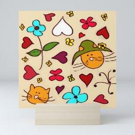 Cats Flower Hat Minimal Cool Trendy For Kids Mini Art Print