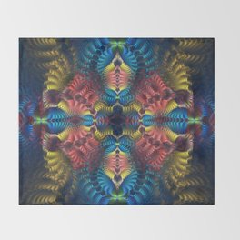 Mirrored abstract with tribal patterns and warm colors Throw Blanket