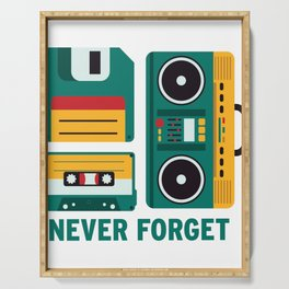 Never Forget Tape Floppy Disk Boom Box Serving Tray