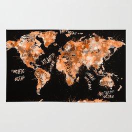 world map color splatter gold Rug