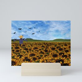 Scarecrow in a Sunflower Field Mini Art Print