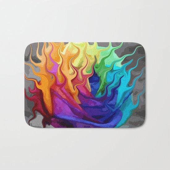 colorful flaming flower Bath Mat