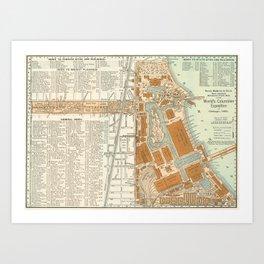 Detailed Map of Chicago Fairgrounds 1893 Art Print