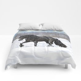 Friesian Horse Trotting In Snow Comforters