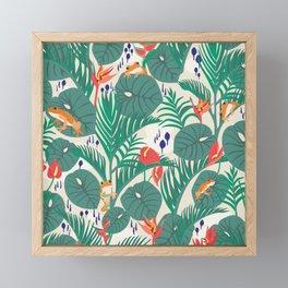 Tropical Frogs in the Jungle - Cream Framed Mini Art Print