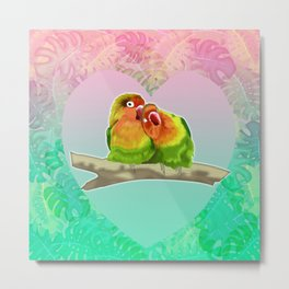 Parakeets in love  Metal Print