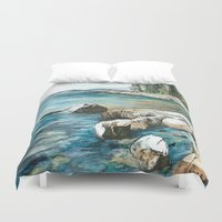 maine Duvet Covers featuring Maine by Micaela Payne