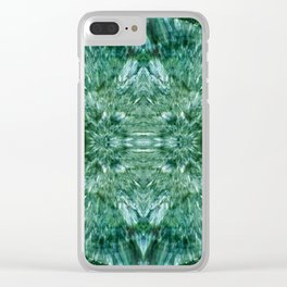 Abstract Kaleidoscope Green Mineral Crystal Texture Clear iPhone Case