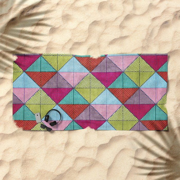 Colorful Seamless Rectangular Geometric Pattern V Beach Towel