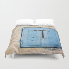 Vibrant Blue Window in Stone Wall Duvet Cover