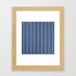 Denim Blue with White Pinstripes Framed Art Print