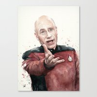 picard Canvas Prints featuring Annoyed Picard Meme  by Olechka