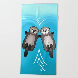 Otters Holding Hands - Otter Couple Beach Towel