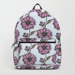 Graphic purple daisy flower pattern Backpack