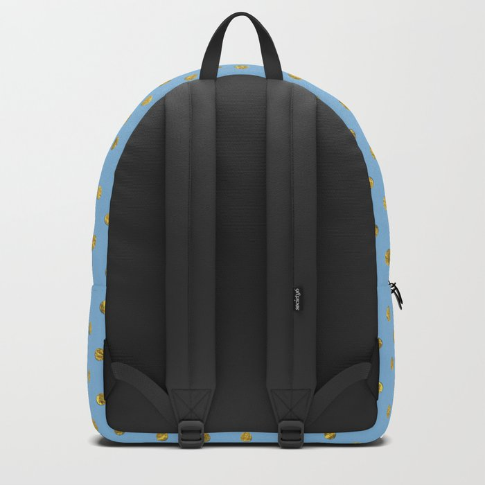 Gold polkadots on sky blue background Backpack