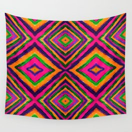 Rainbow Painted God's Eye - Pink Wall Tapestry