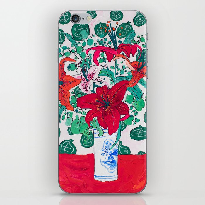 Tropical Lily Bouquet in Delft Vase with Matisse Leaf Cutout Background iPhone Skin