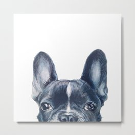 French Bull dog Dog illustration original painting print Metal Print