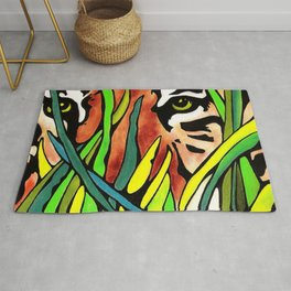Tiger Eyes Looking Through Tall Grass By annmariescreations Rug