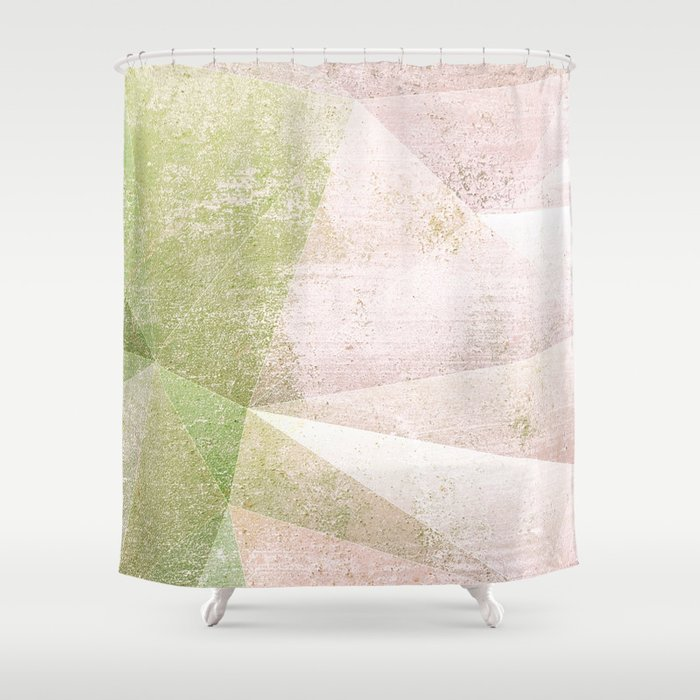 Frozen Geometry - Pink & Green Shower Curtain by dominiquevari ...