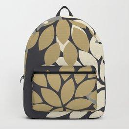 Bold Colorful Gold Ivory Charcoal Grey Dahlia Flower Burst Petals Backpack