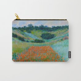 Claude Monet Impressionist Landscape Oil Painting Poppy Field in a Hollow near Giverny Carry-All Pouch