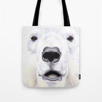 polar bear Tote Bags featuring Polar Bear by StudioBlueRoom