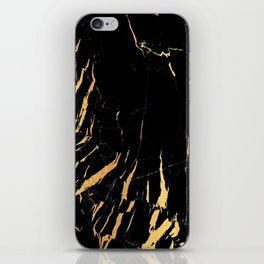 Black and gold marble #2 iPhone Skin