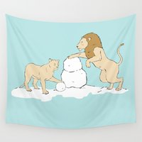 lions Wall Tapestries featuring Snow Lions by Alrkeaton