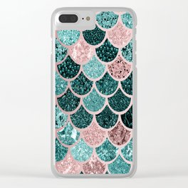Mermaid Fish Scales, Pink, Rose Gold, Teal, Emerald Green Clear iPhone Case