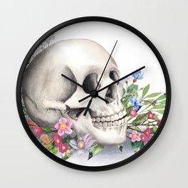 Skull Still Life With Wild Flowers Wall Clock