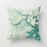 boston map Throw Pillows featuring Boston Map Blue Vintage by City Art Posters