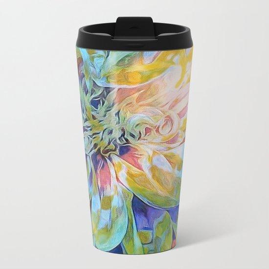 Rainbow Floral Blue Metal Travel Mug