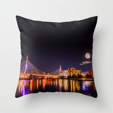 Moon light over Zakim bridge Throw Pillow