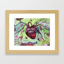 I Heart Bees Framed Art Print