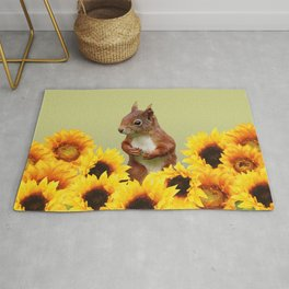 Squirrel in Sunflower Blossoms Field Rug