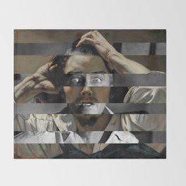 """Gustave Courbet """"The Desperate Man"""" Self Portrait & James Stewart in Vertigo Throw Blanket"""
