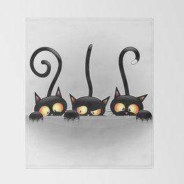 Three Naughty Playful Kitties Throw Blanket