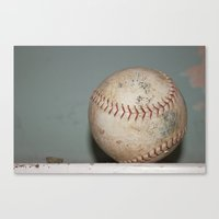 baseball Canvas Prints featuring Baseball by Sarah Skupien