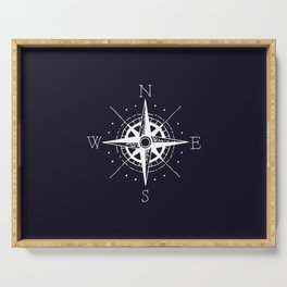 Navy Nautical - White Compass Serving Tray