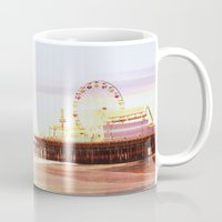 santa monica Mugs featuring Santa Monica Pier Sunrise by Christine aka stine1