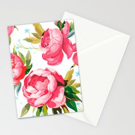 Beautiful Floral Bouquet  Pink Flowers Patterns Stationery Cards