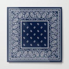 Navy Blue and White Bandana Metal Print