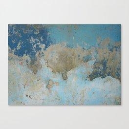 rough blue urban paint wall texture pattern Canvas Print