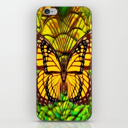 FANTASY YELLOW MONARCH BUTTERFLY LIME COLOR iPhone Skin