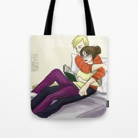 levi Tote Bags featuring Cath and Levi Reading by The Art of Young Adult