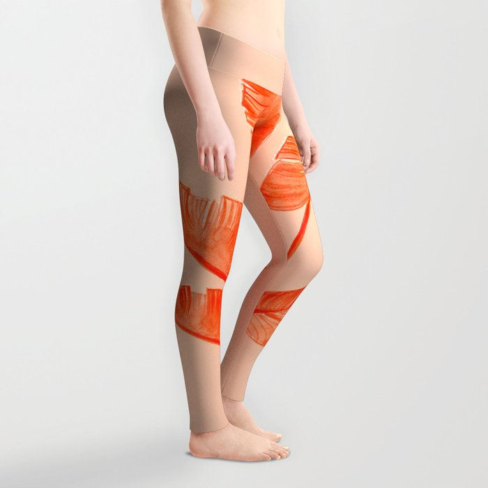 Coral Banana Plant Leggings
