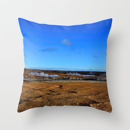 Namafjall geothermal Iceland Panorama Throw Pillow