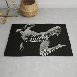 8431-KMA BW Striped Art Nude Woman Open Free Empowered Rug