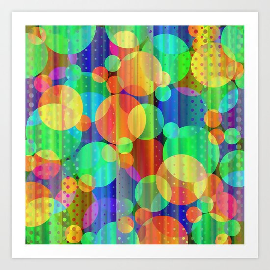 Strips & Polka Dots 4 Art Print